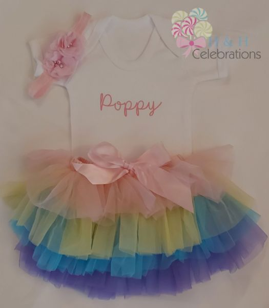 Girls Personalised Name Rainbow Tutu Gift Set